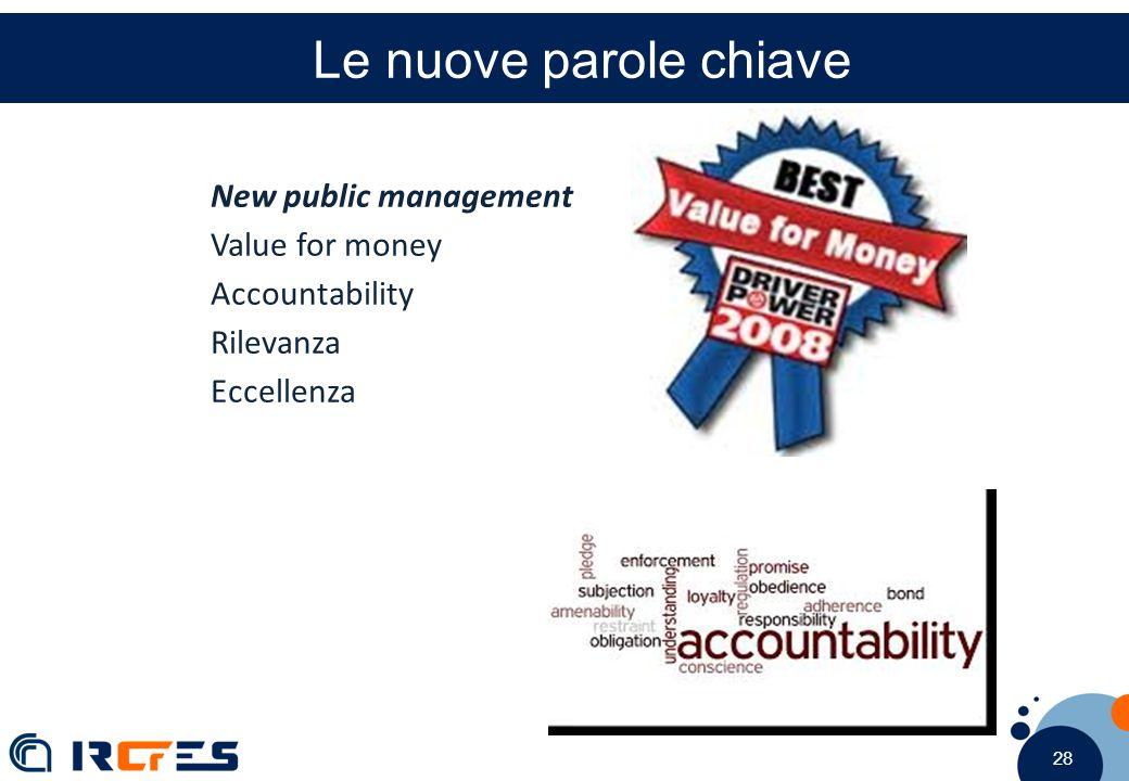 28 Le nuove parole chiave New public management Value for money Accountability Rilevanza Eccellenza