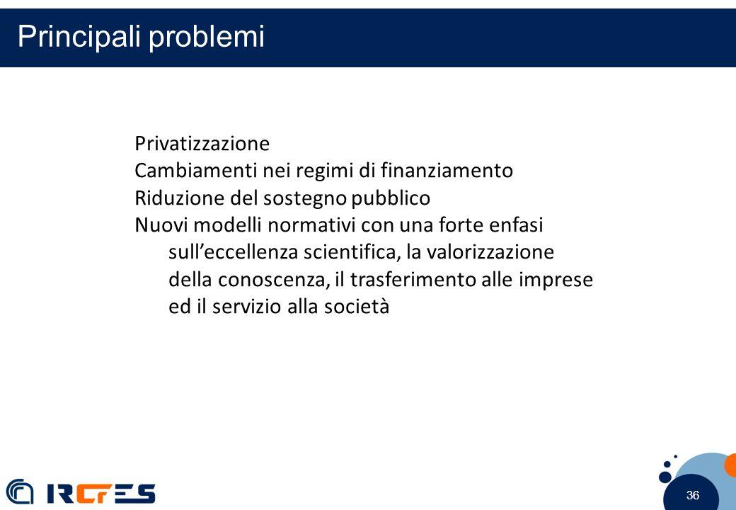 36 Principali problemi Privatizzazione Cambiamenti nei regimi di finanziamento Riduzione del sostegno pubblico Nuovi modelli normativi con una forte enfasi sull'eccellenza scientifica, la valorizzazione della conoscenza, il trasferimento alle imprese ed il servizio alla società