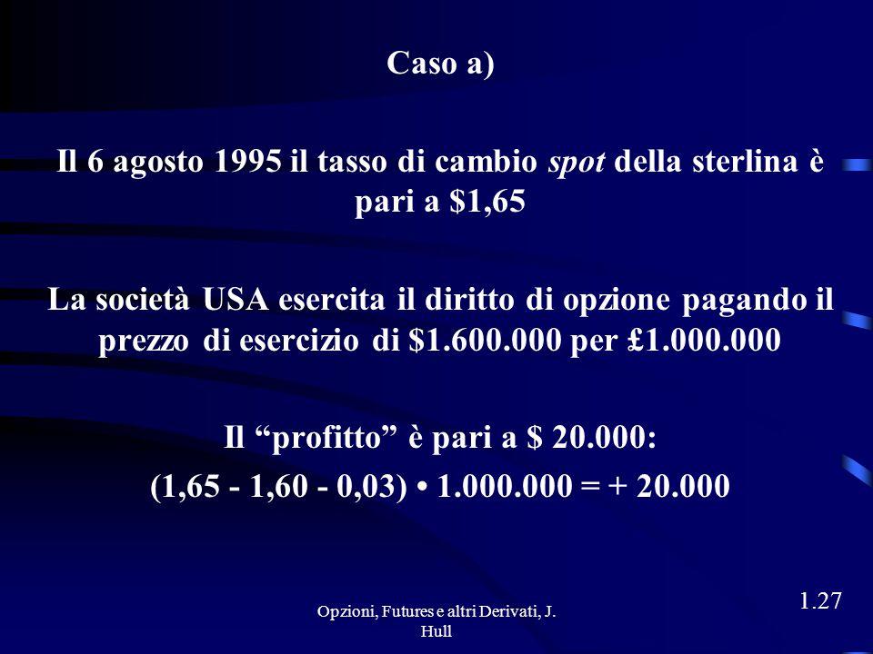 Opzioni, Futures e altri Derivati, J. Hull 1.26 Hedgers Obiettivo: ridurre il rischio di un'esposizione Esempio 8 maggio 1995: società USA deve pagare