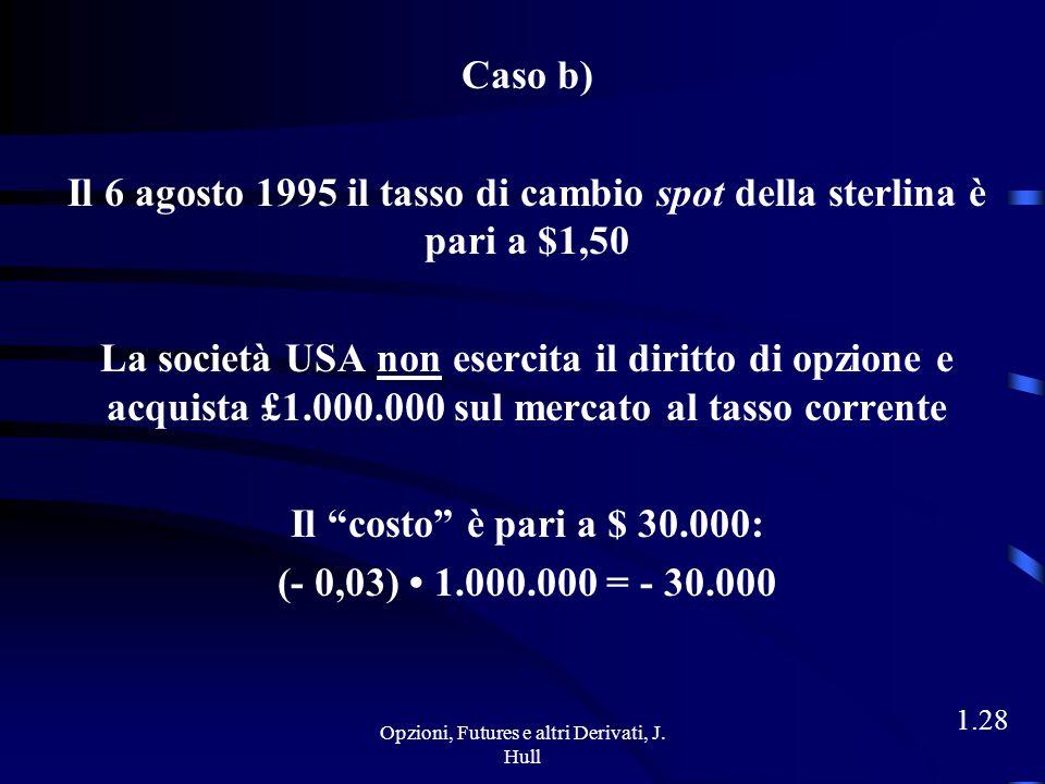 Opzioni, Futures e altri Derivati, J. Hull 1.27 Caso a) Il 6 agosto 1995 il tasso di cambio spot della sterlina è pari a $1,65 La società USA esercita