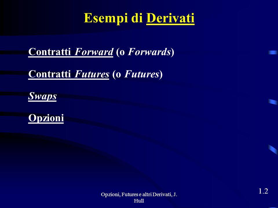 Opzioni, Futures e altri Derivati, J. Hull 1.1 La Natura dei Derivati I derivati sono strumenti il cui valore dipende dal valore di altre più fondamen