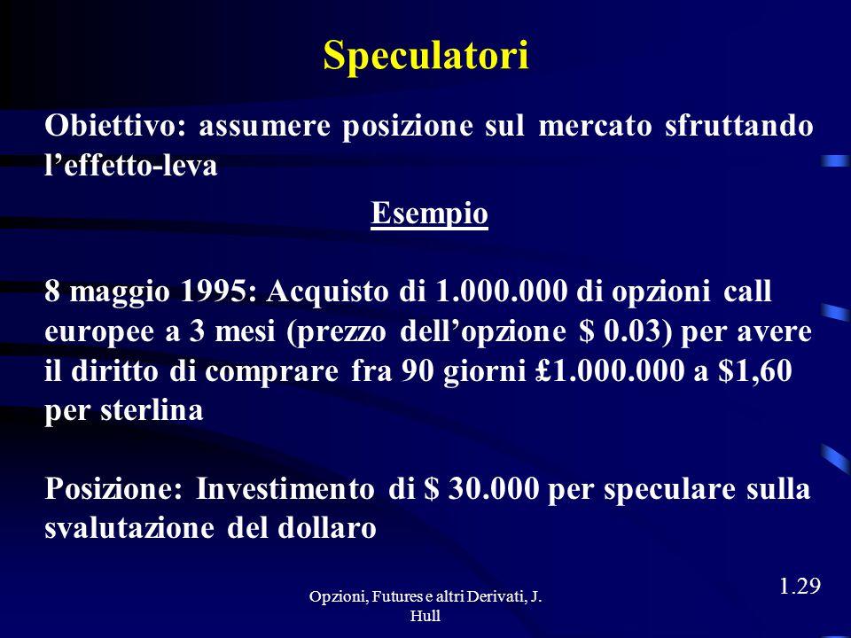 Opzioni, Futures e altri Derivati, J. Hull 1.28 Caso b) Il 6 agosto 1995 il tasso di cambio spot della sterlina è pari a $1,50 La società USA non eser