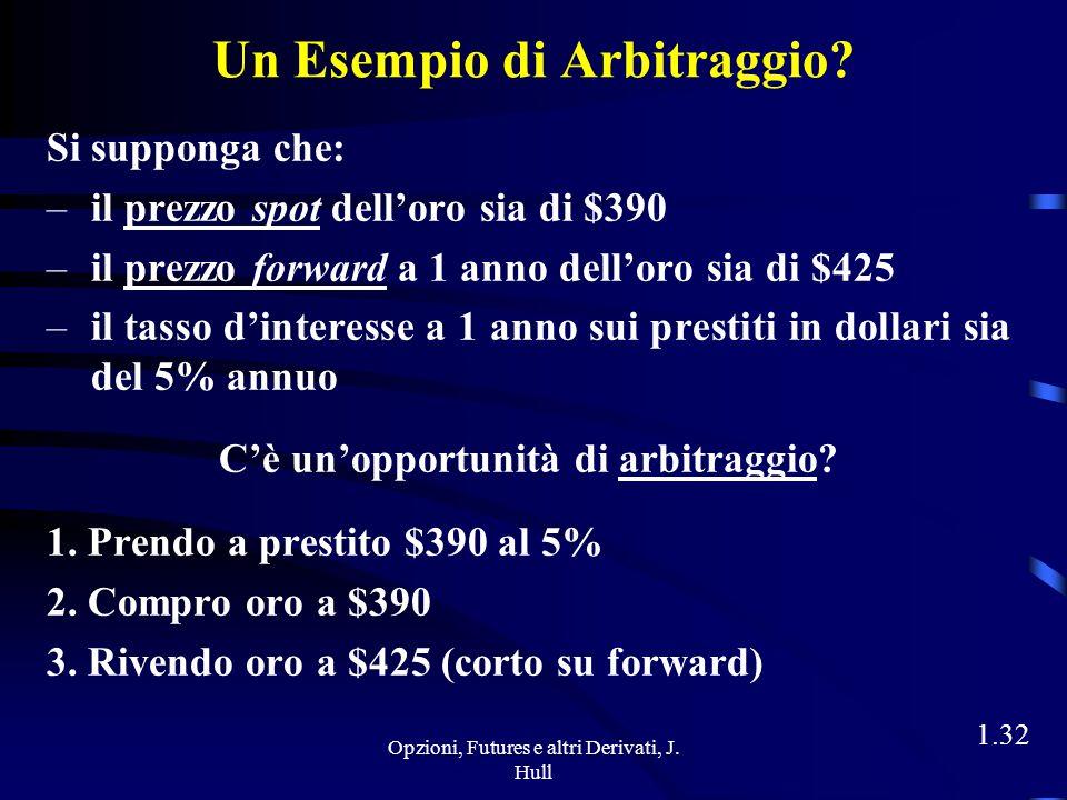 Opzioni, Futures e altri Derivati, J. Hull 1.31 Arbitraggisti Obiettivo: bloccare un profitto privo di rischio entrando simultaneamente in transazioni