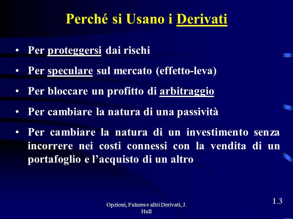 Opzioni, Futures e altri Derivati, J. Hull 1.2 Esempi di Derivati Contratti Forward (o Forwards) Contratti Futures (o Futures) Swaps Opzioni