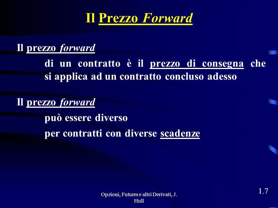 Opzioni, Futures e altri Derivati, J. Hull 1.6 Come Funziona un Contratto Forward Il contratto forward è un accordo tra 2 società sul mercato over the
