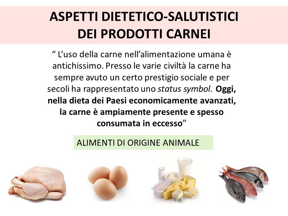"""ASPETTI DIETETICO-SALUTISTICI DEI PRODOTTI CARNEI """" L'uso della carne nell'alimentazione umana è antichissimo. Presso le varie civiltà la carne ha sem"""
