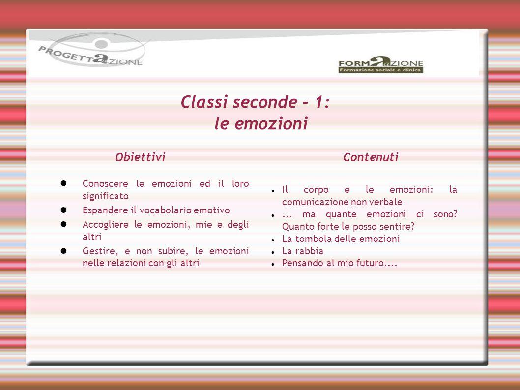 Classi seconde - 1: le emozioni Il corpo e le emozioni: la comunicazione non verbale... ma quante emozioni ci sono? Quanto forte le posso sentire? La