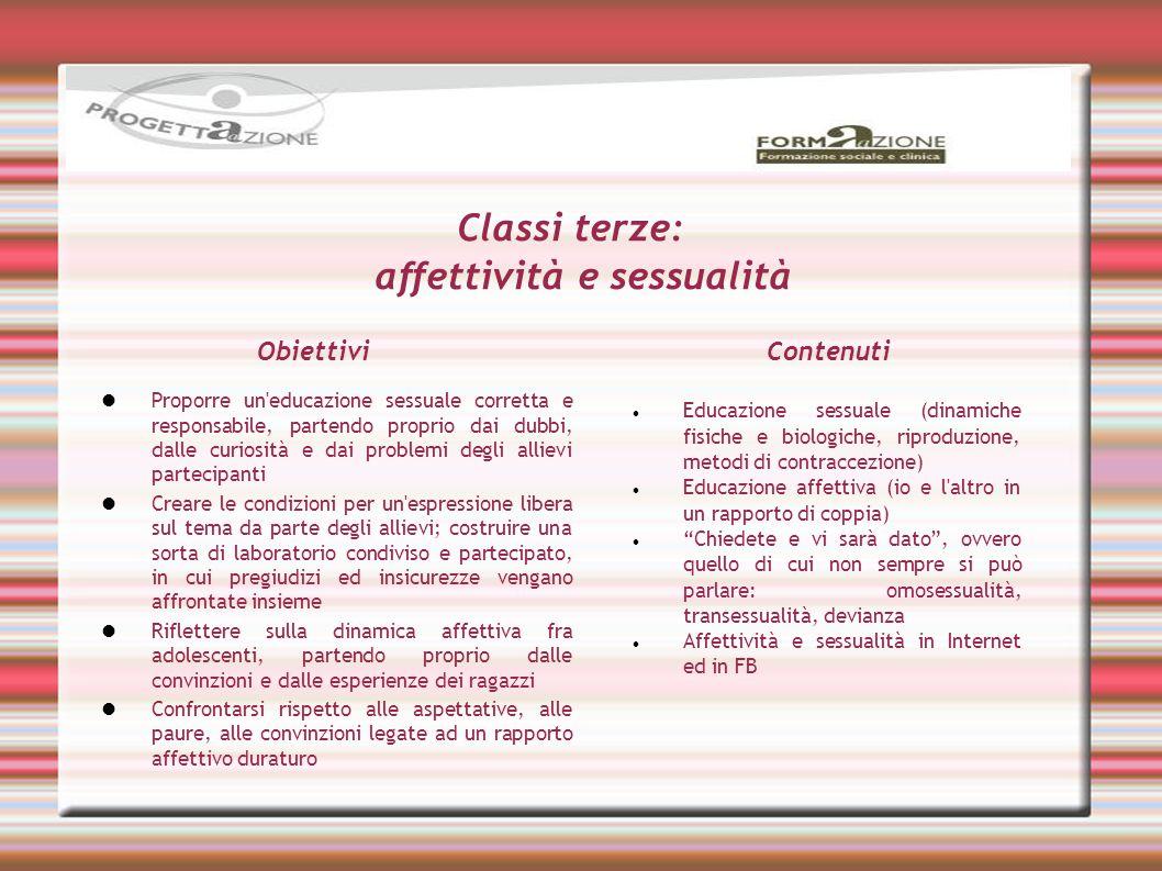 Classi terze: affettività e sessualità Educazione sessuale (dinamiche fisiche e biologiche, riproduzione, metodi di contraccezione) Educazione affetti