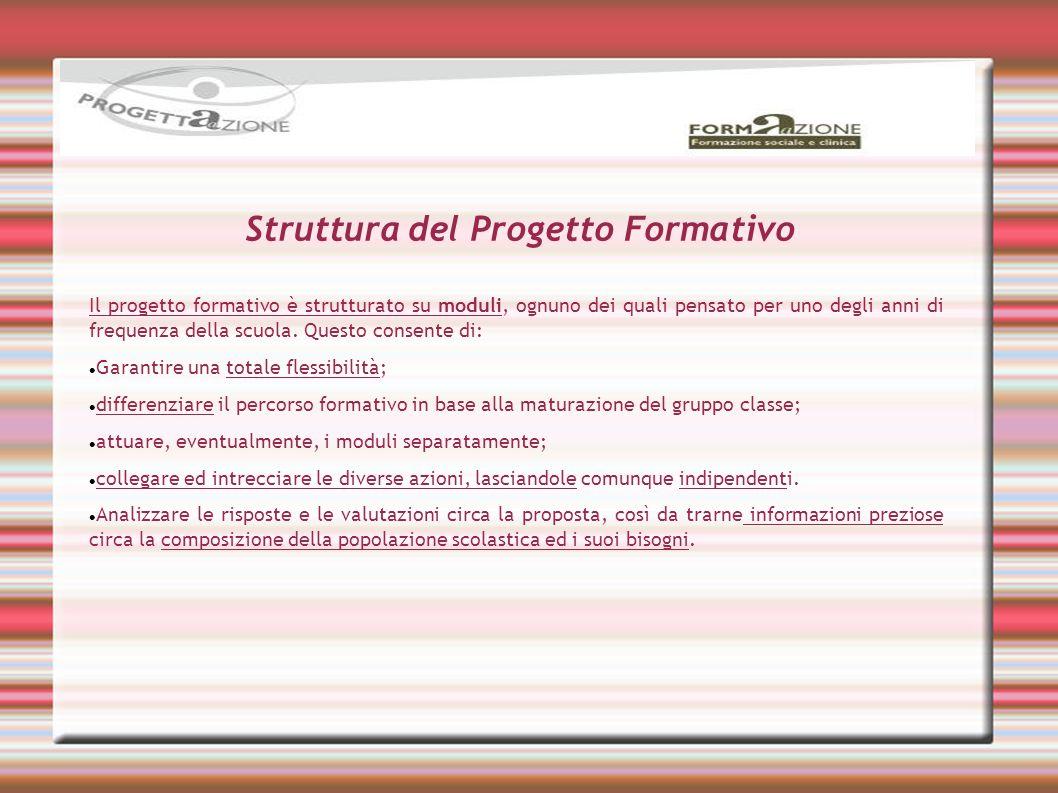 Struttura del Progetto Formativo Il progetto formativo è strutturato su moduli, ognuno dei quali pensato per uno degli anni di frequenza della scuola.