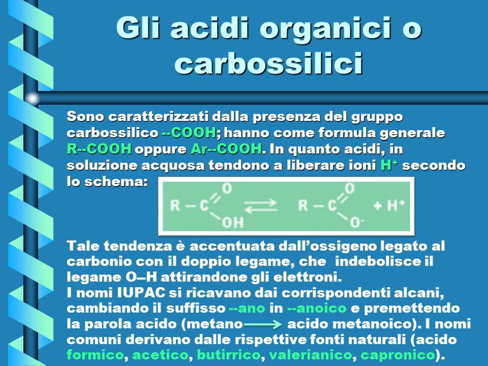 Gli acidi organici o carbossilici Sono caratterizzati dalla presenza del gruppo carbossilico --COOH; hanno come formula generale R--COOH oppure Ar--CO