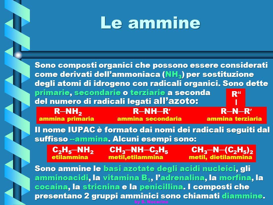 Le ammine Sono composti organici che possono essere considerati come derivati dell'ammoniaca (NH 3 ) per sostituzione degli atomi di idrogeno con radi