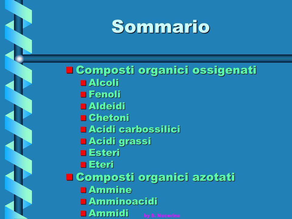 Sommario Composti organici ossigenati AlcoliFenoliAldeidiChetoni Acidi carbossilici Acidi grassi EsteriEteri Composti organici azotati AmmineAmminoaci
