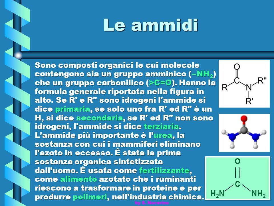 Le ammidi Sono composti organici le cui molecole contengono sia un gruppo amminico (--NH 2 ) che un gruppo carbonilico (>C=O). Hanno la formula genera
