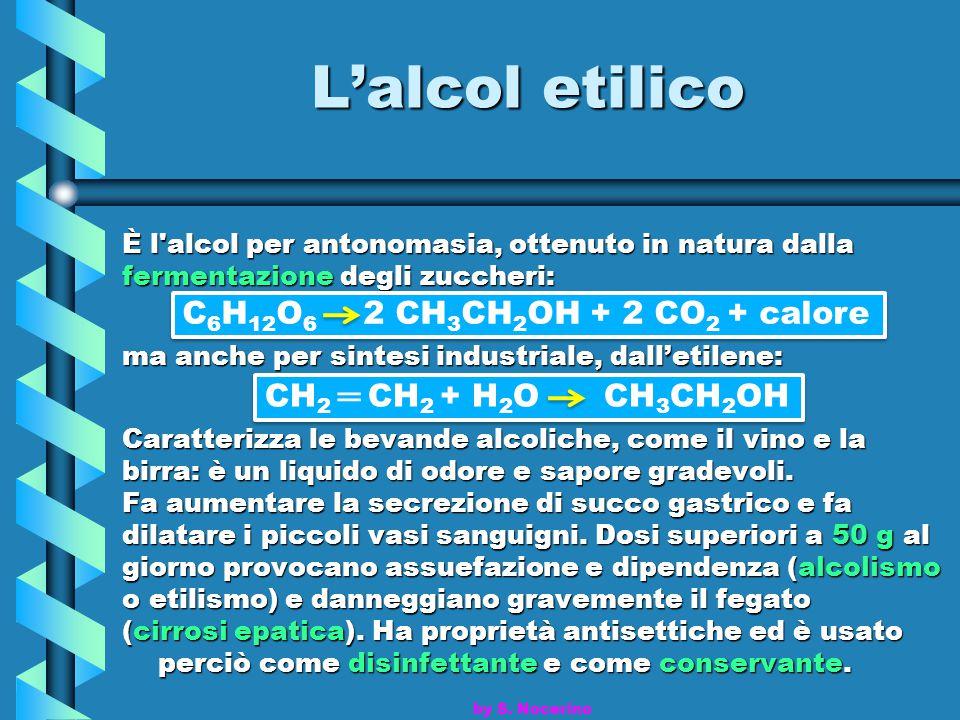 L'alcol etilico È l'alcol per antonomasia, ottenuto in natura dalla fermentazione degli zuccheri: ma anche per sintesi industriale, dall'etilene: Cara