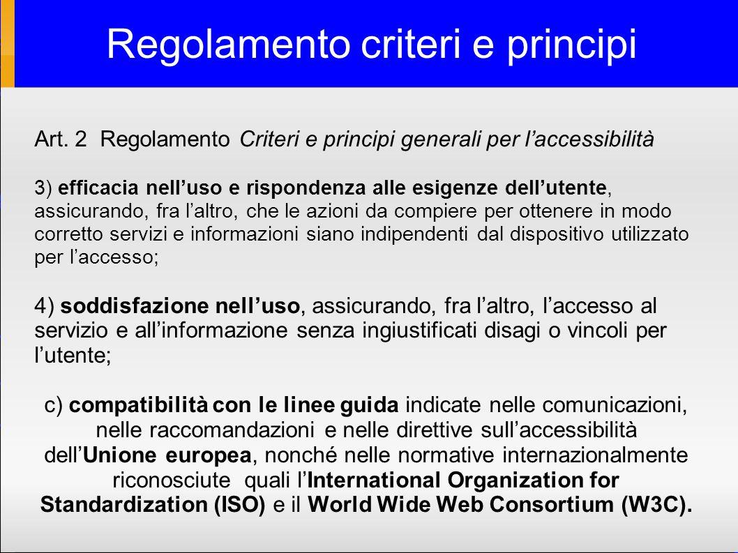 Regolamento criteri e principi Art.