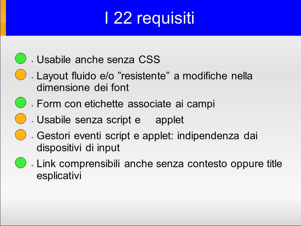 I 22 requisiti  Usabile anche senza CSS  Layout fluido e/o resistente a modifiche nella dimensione dei font  Form con etichette associate ai campi  Usabile senza script e applet  Gestori eventi script e applet: indipendenza dai dispositivi di input  Link comprensibili anche senza contesto oppure title esplicativi