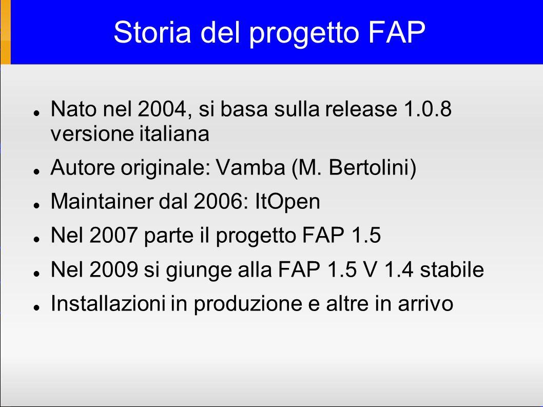 Storia del progetto FAP Nato nel 2004, si basa sulla release 1.0.8 versione italiana Autore originale: Vamba (M.