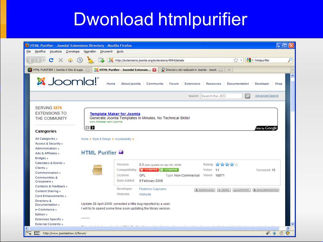 Dwonload htmlpurifier