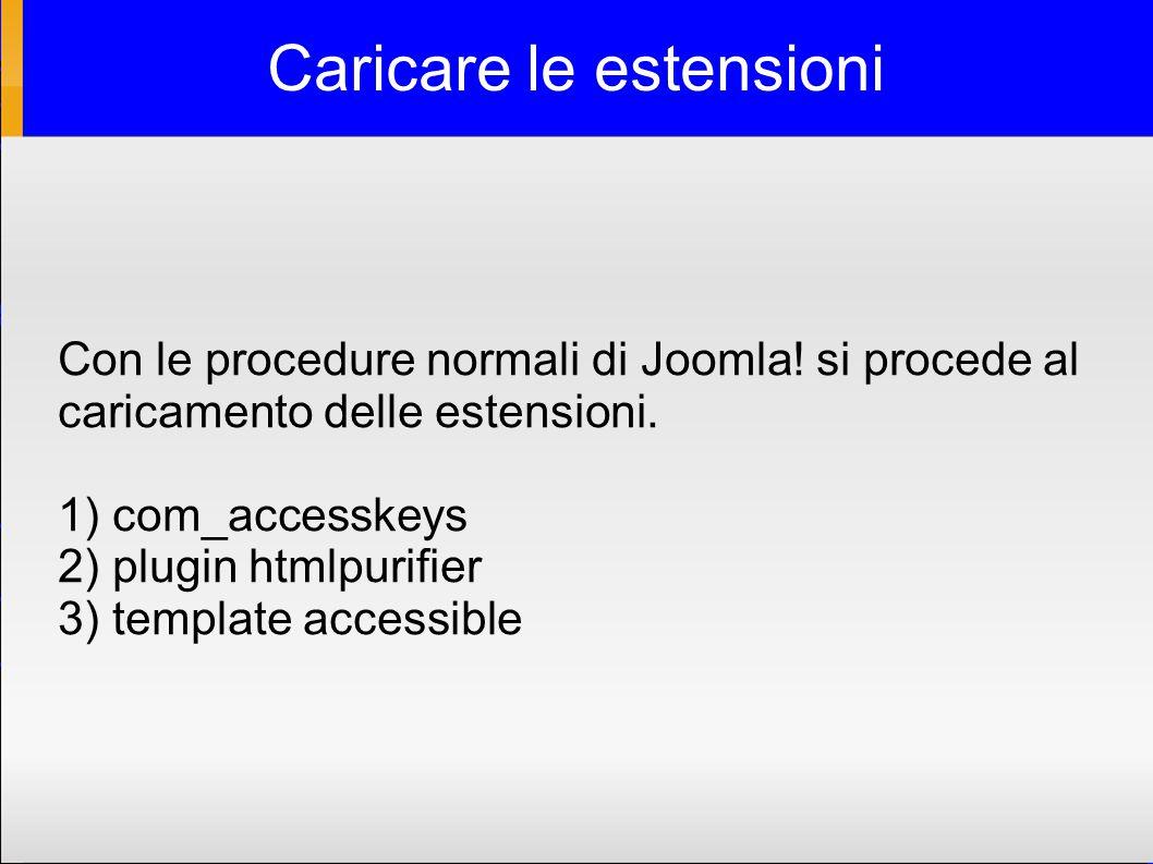 Caricare le estensioni Con le procedure normali di Joomla.