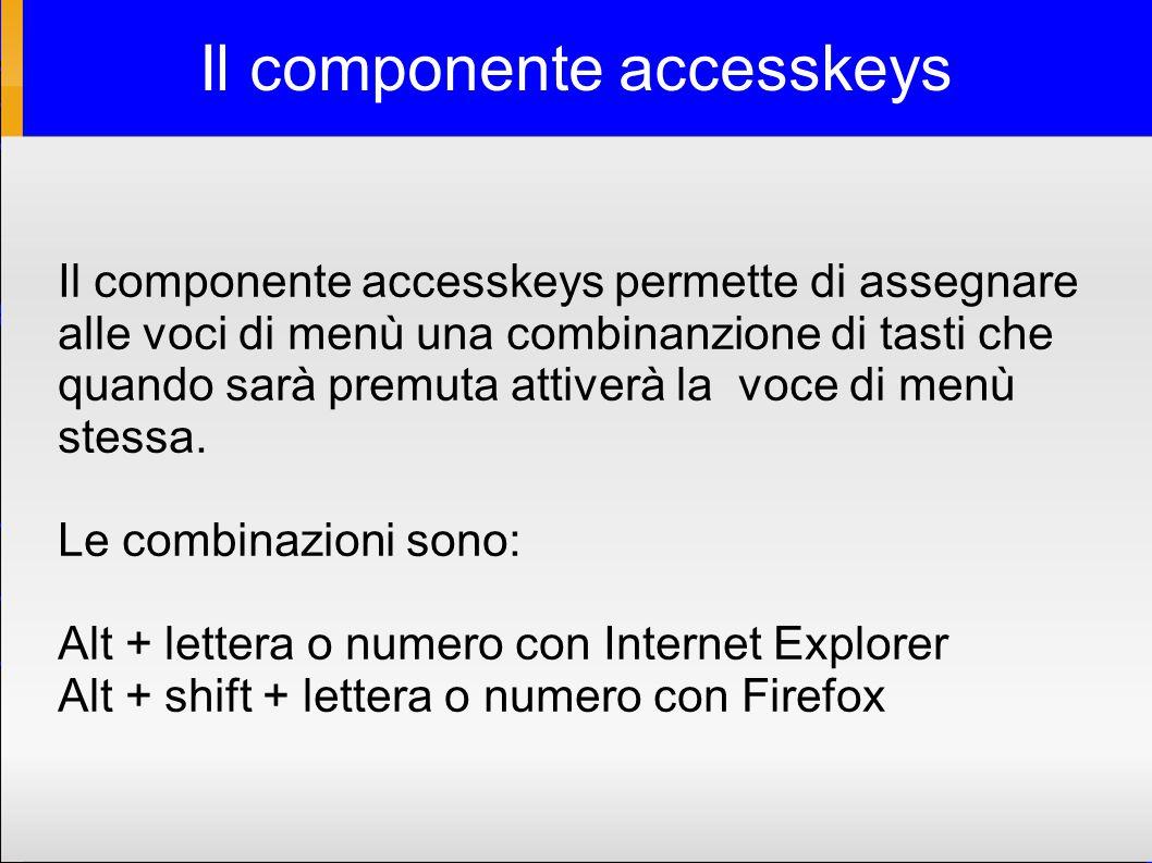 Il componente accesskeys Il componente accesskeys permette di assegnare alle voci di menù una combinanzione di tasti che quando sarà premuta attiverà la voce di menù stessa.