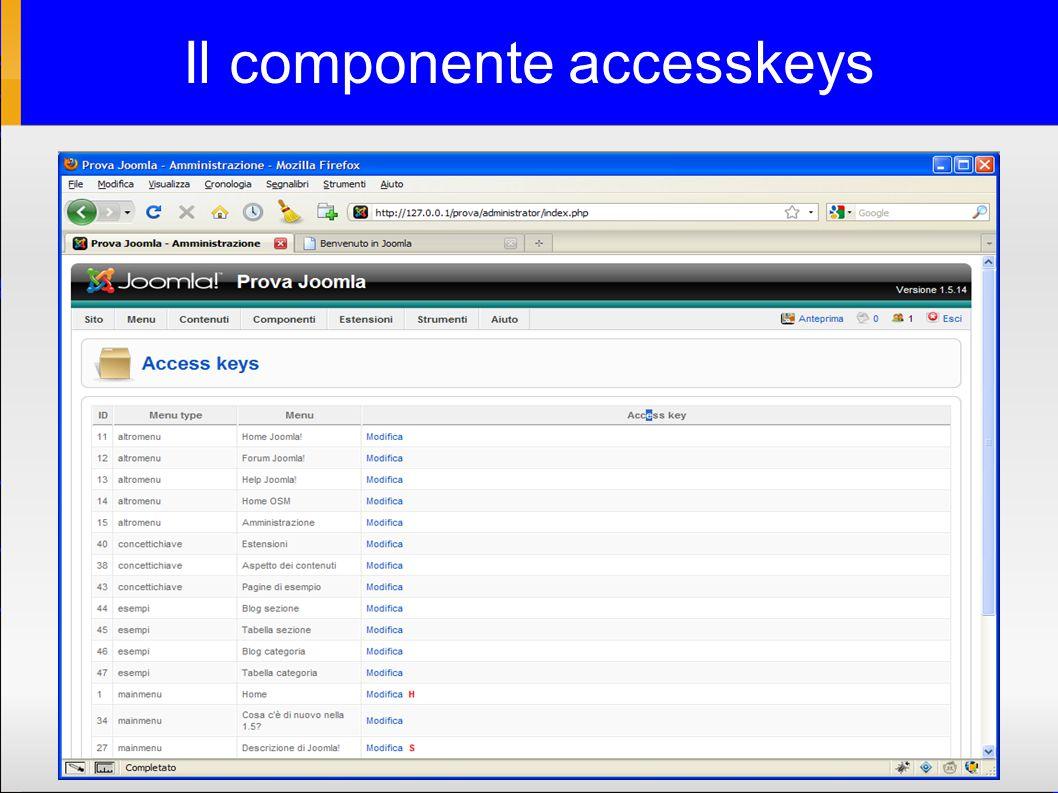 Il componente accesskeys