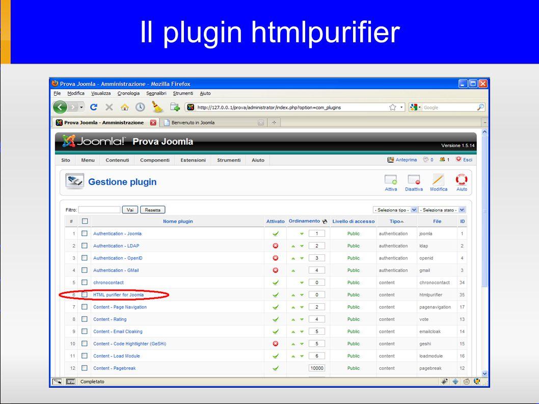 Il plugin htmlpurifier