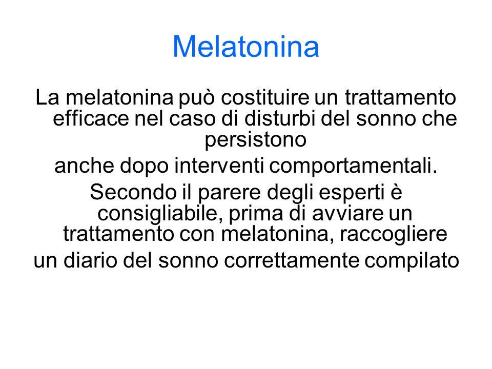Melatonina La melatonina può costituire un trattamento efficace nel caso di disturbi del sonno che persistono anche dopo interventi comportamentali.