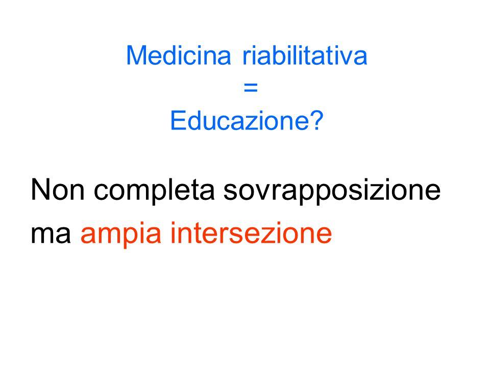 Medicina riabilitativa = Educazione? Non completa sovrapposizione ma ampia intersezione