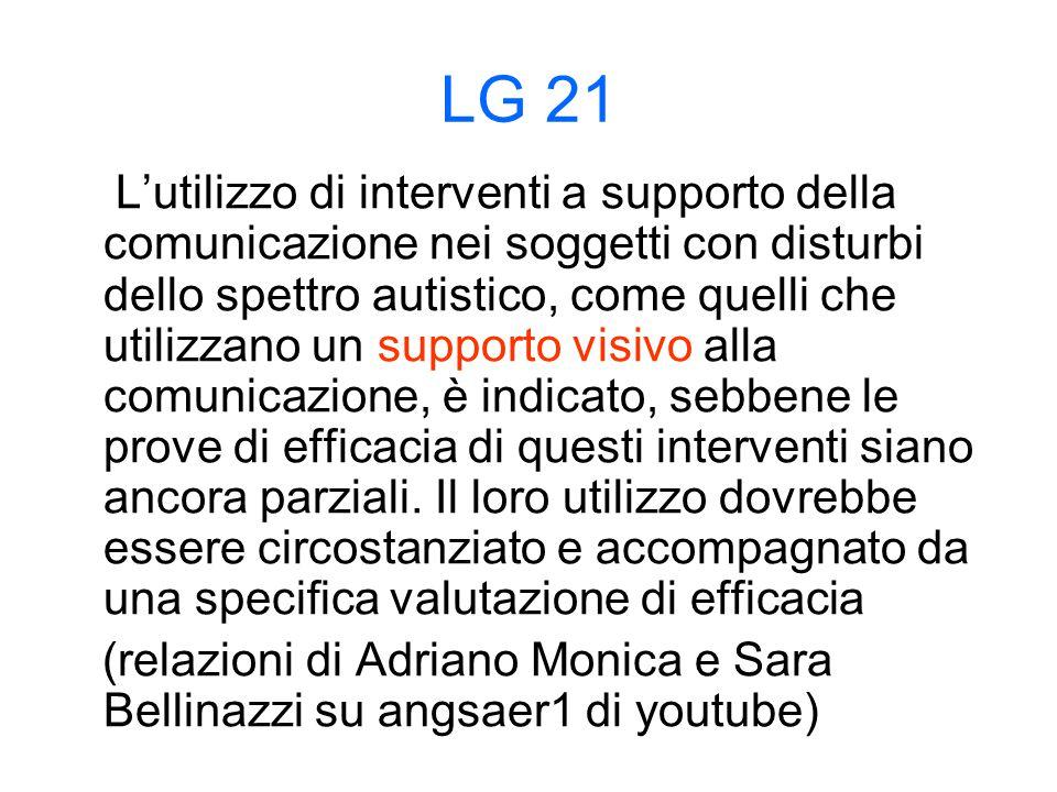 LG 21 L'utilizzo di interventi a supporto della comunicazione nei soggetti con disturbi dello spettro autistico, come quelli che utilizzano un supporto visivo alla comunicazione, è indicato, sebbene le prove di efficacia di questi interventi siano ancora parziali.