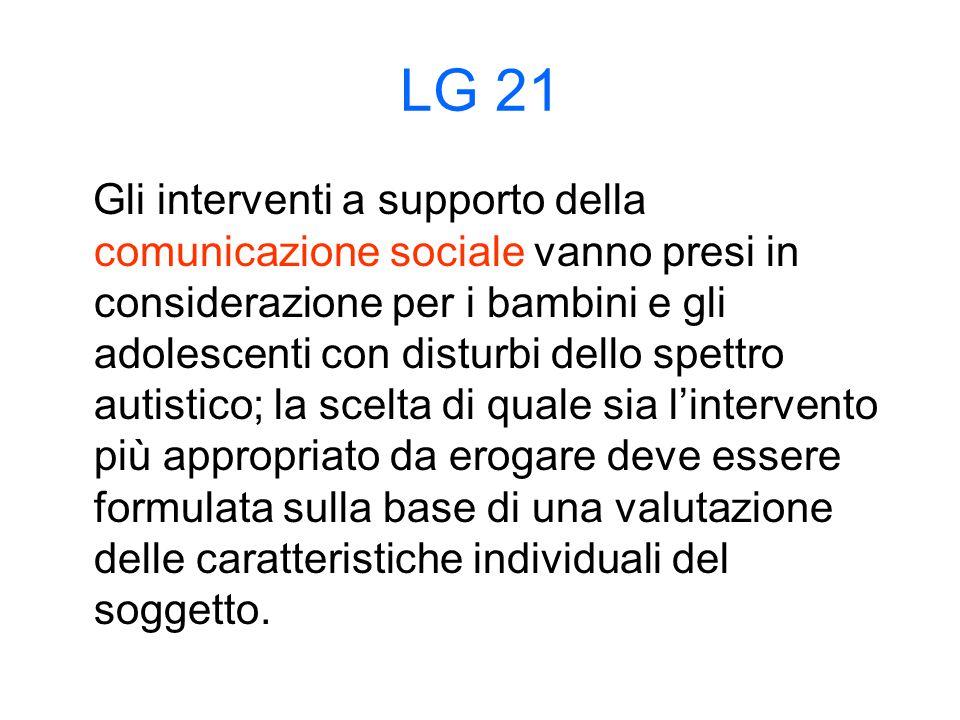 LG 21 Gli interventi a supporto della comunicazione sociale vanno presi in considerazione per i bambini e gli adolescenti con disturbi dello spettro autistico; la scelta di quale sia l'intervento più appropriato da erogare deve essere formulata sulla base di una valutazione delle caratteristiche individuali del soggetto.