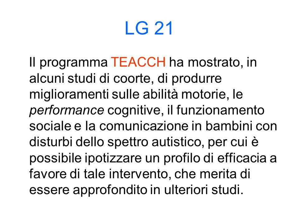 LG 21 Il programma TEACCH ha mostrato, in alcuni studi di coorte, di produrre miglioramenti sulle abilità motorie, le performance cognitive, il funzionamento sociale e la comunicazione in bambini con disturbi dello spettro autistico, per cui è possibile ipotizzare un profilo di efficacia a favore di tale intervento, che merita di essere approfondito in ulteriori studi.