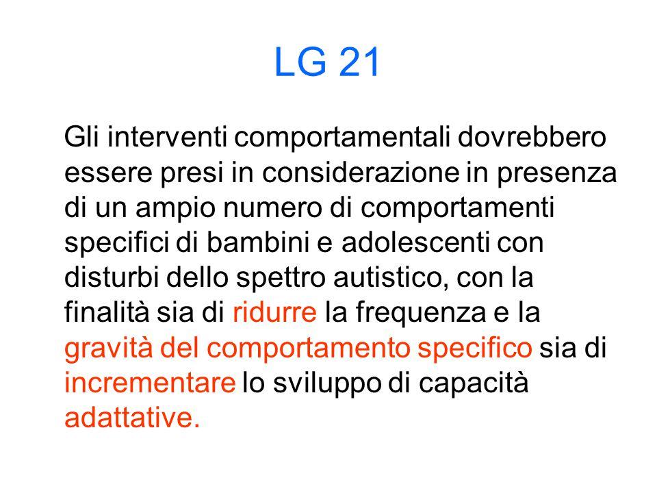 LG 21 Gli interventi comportamentali dovrebbero essere presi in considerazione in presenza di un ampio numero di comportamenti specifici di bambini e adolescenti con disturbi dello spettro autistico, con la finalità sia di ridurre la frequenza e la gravità del comportamento specifico sia di incrementare lo sviluppo di capacità adattative.