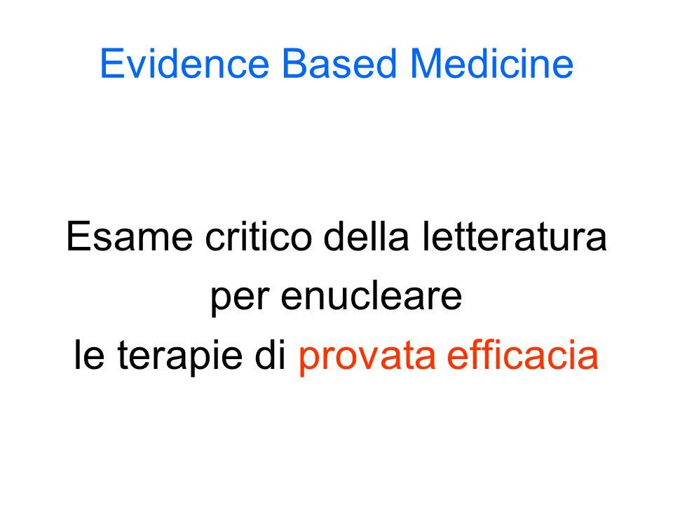 Evidence Based Medicine Esame critico della letteratura per enucleare le terapie di provata efficacia