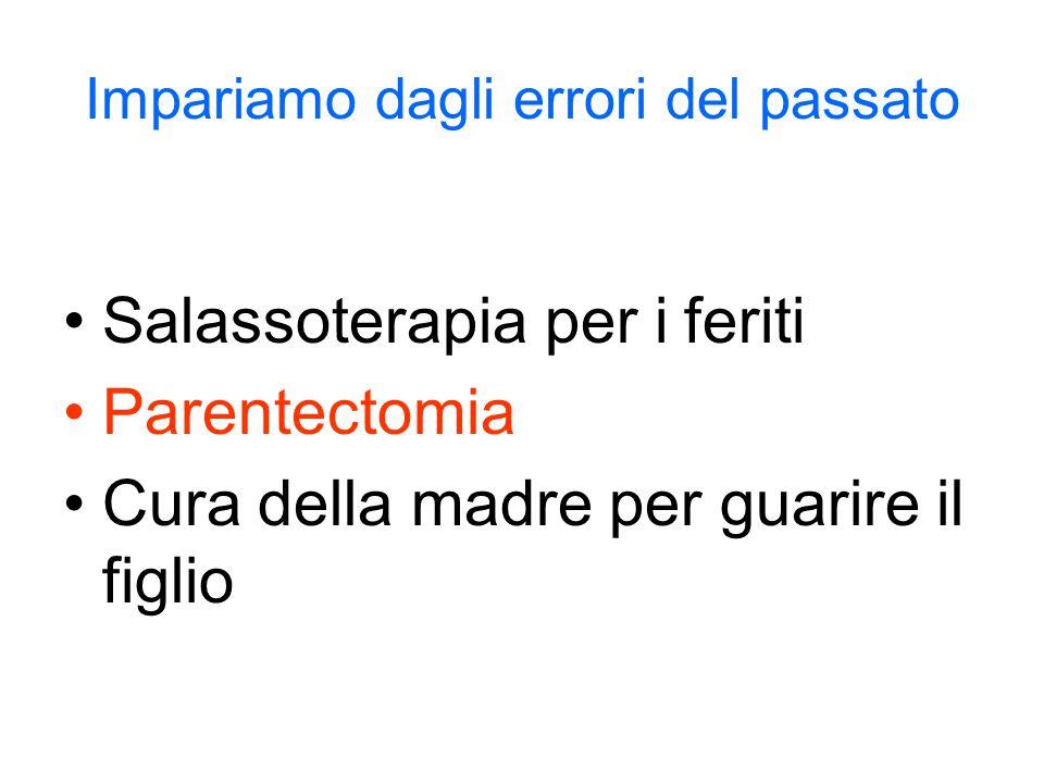 Impariamo dagli errori del passato Salassoterapia per i feriti Parentectomia Cura della madre per guarire il figlio