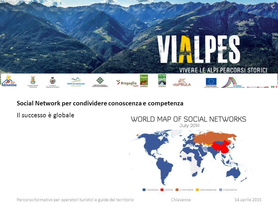 Percorso formativo per operatori turistici e guide del territorio Social Network per condividere conoscenza e competenza Il successo è globale Chiavenna14 aprile 2015