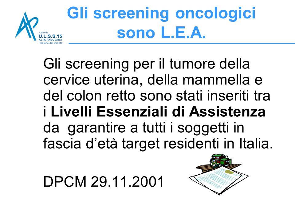 Gli screening per il tumore della cervice uterina, della mammella e del colon retto sono stati inseriti tra i Livelli Essenziali di Assistenza da gara