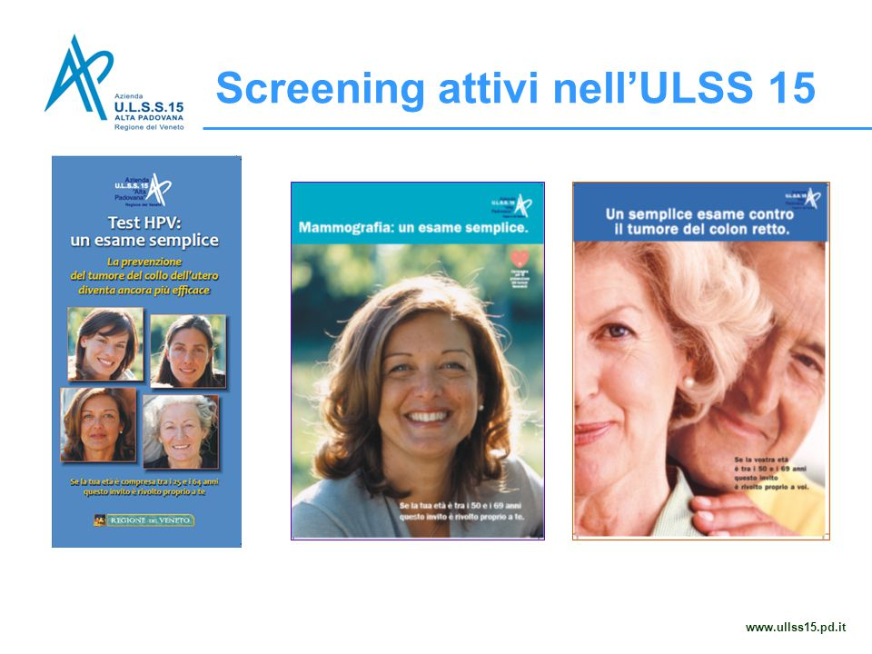 www.ullss15.pd.it Screening attivi nell'ULSS 15