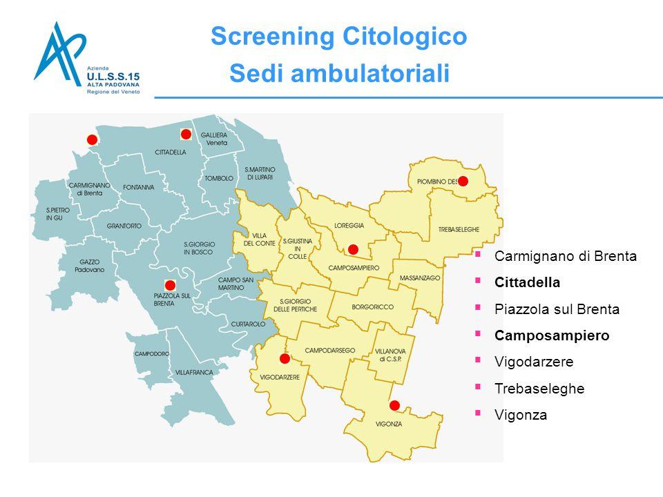  Carmignano di Brenta  Cittadella  Piazzola sul Brenta  Camposampiero  Vigodarzere  Trebaseleghe  Vigonza Screening Citologico Sedi ambulatoria