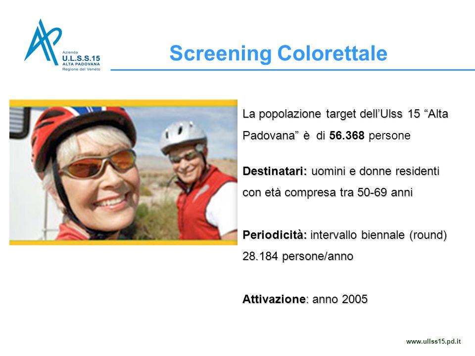 """Screening Colorettale www.ullss15.pd.it La popolazione target dell'Ulss 15 """"Alta Padovana"""" è di La popolazione target dell'Ulss 15 """"Alta Padovana"""" è d"""