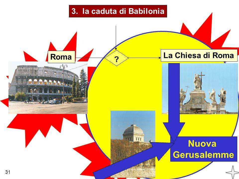 3. la caduta di Babilonia Roma La Chiesa di Roma Nuova Gerusalemme 31 ?