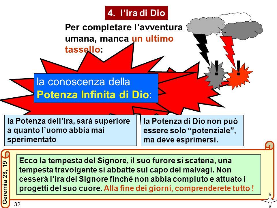 4. l'ira di Dio Ecco la tempesta del Signore, il suo furore si scatena, una tempesta travolgente si abbatte sul capo dei malvagi. Non cesserà l'ira de