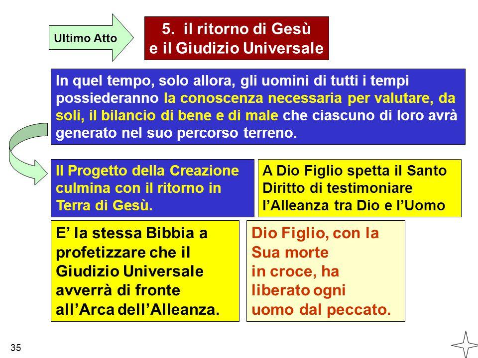 5. il ritorno di Gesù e il Giudizio Universale Ultimo Atto In quel tempo, solo allora, gli uomini di tutti i tempi possiederanno la conoscenza necessa