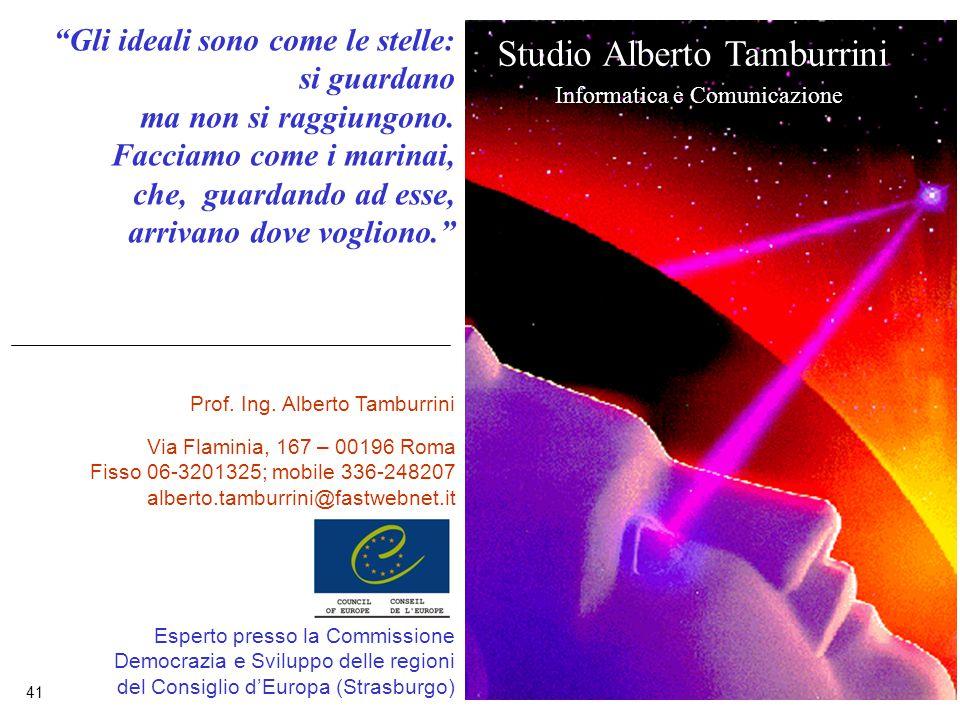 41 Studio Alberto Tamburrini Informatica e Comunicazione Esperto presso la Commissione Democrazia e Sviluppo delle regioni del Consiglio d'Europa (Strasburgo) Gli ideali sono come le stelle: si guardano ma non si raggiungono.