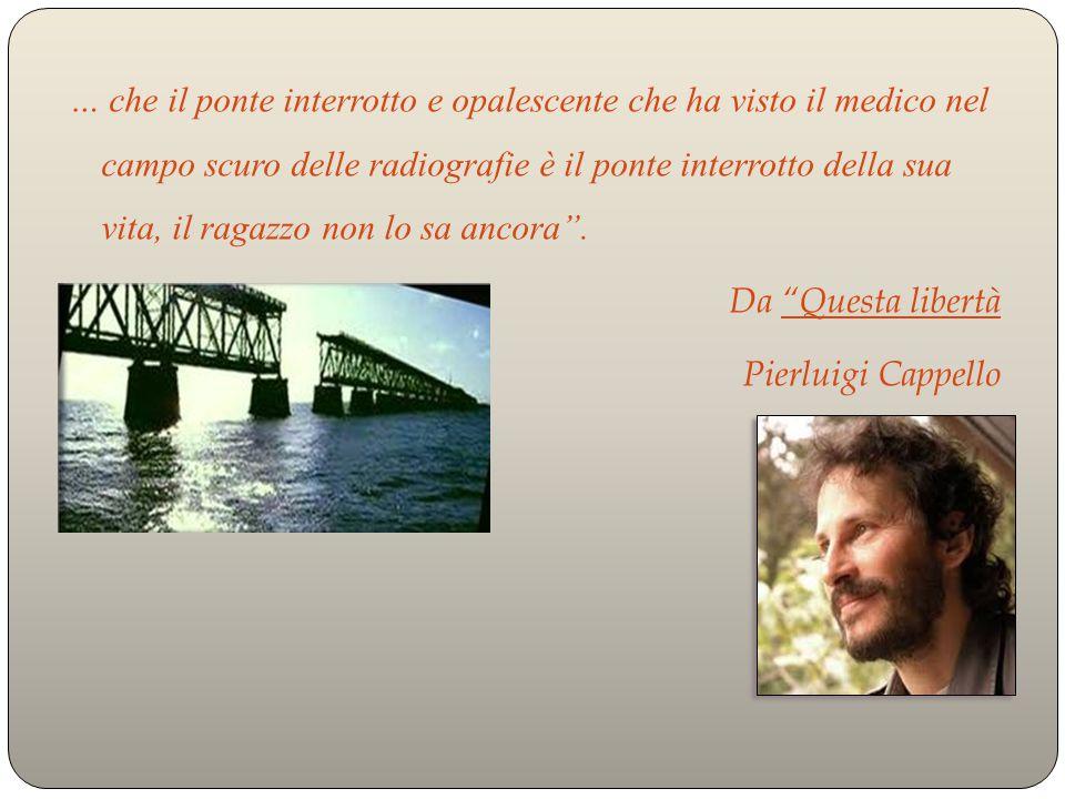… che il ponte interrotto e opalescente che ha visto il medico nel campo scuro delle radiografie è il ponte interrotto della sua vita, il ragazzo non lo sa ancora .
