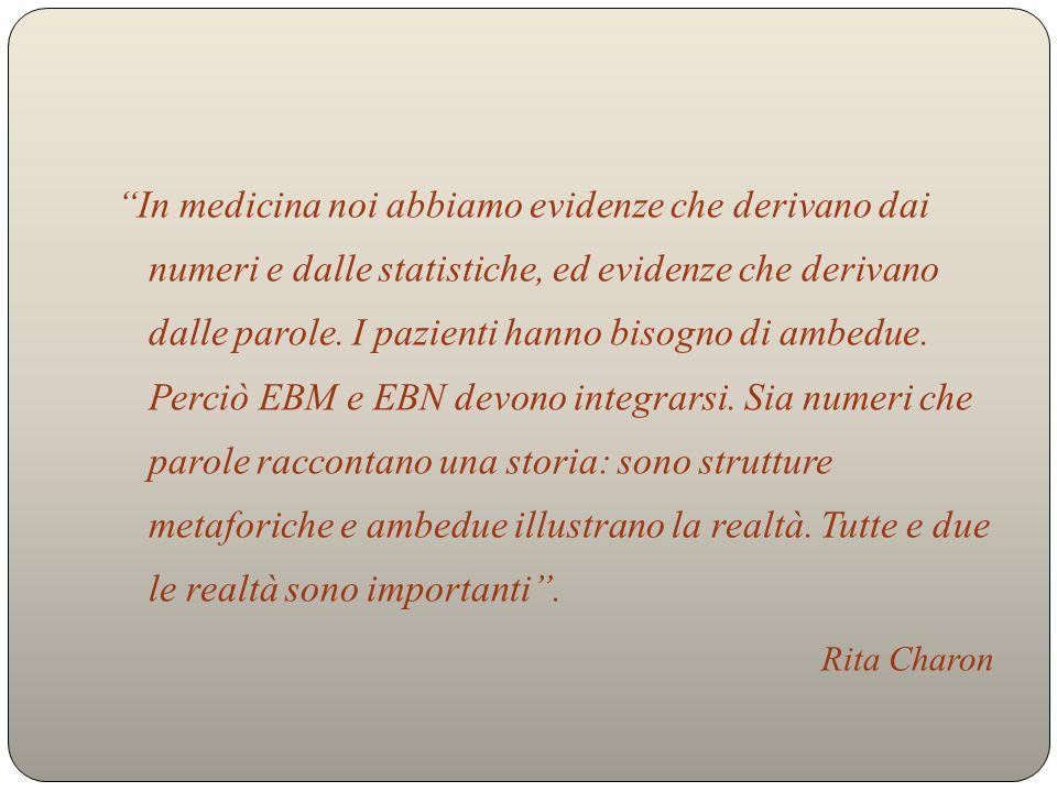 In medicina noi abbiamo evidenze che derivano dai numeri e dalle statistiche, ed evidenze che derivano dalle parole.