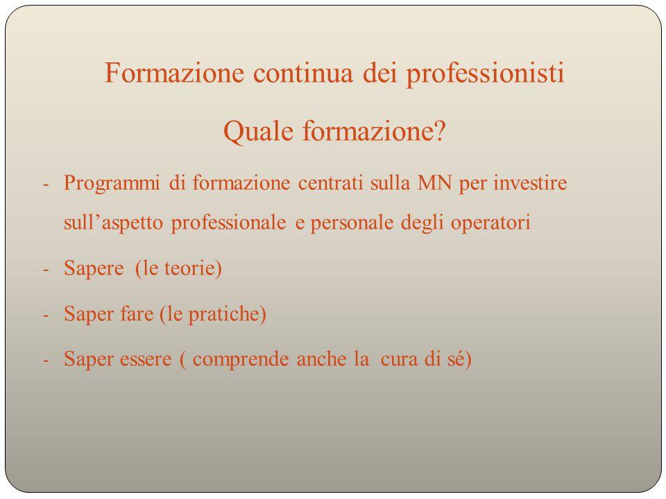Formazione continua dei professionisti Quale formazione.