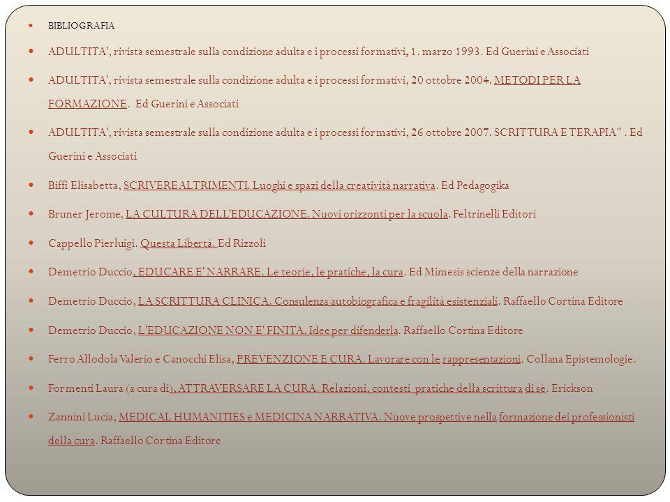 BIBLIOGRAFIA ADULTITA , rivista semestrale sulla condizione adulta e i processi formativi, 1.
