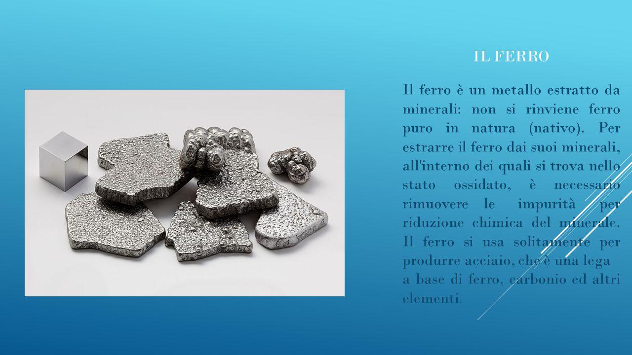 IL FERRO Il ferro è un metallo estratto da minerali: non si rinviene ferro puro in natura (nativo). Per estrarre il ferro dai suoi minerali, all'inter
