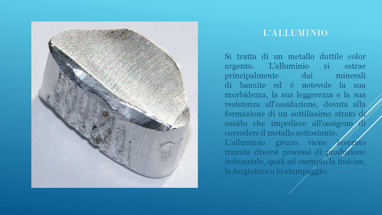 L'ALLUMINIO Si tratta di un metallo duttile color argento. L'alluminio si estrae principalmente dai minerali di bauxite ed è notevole la sua morbidezz