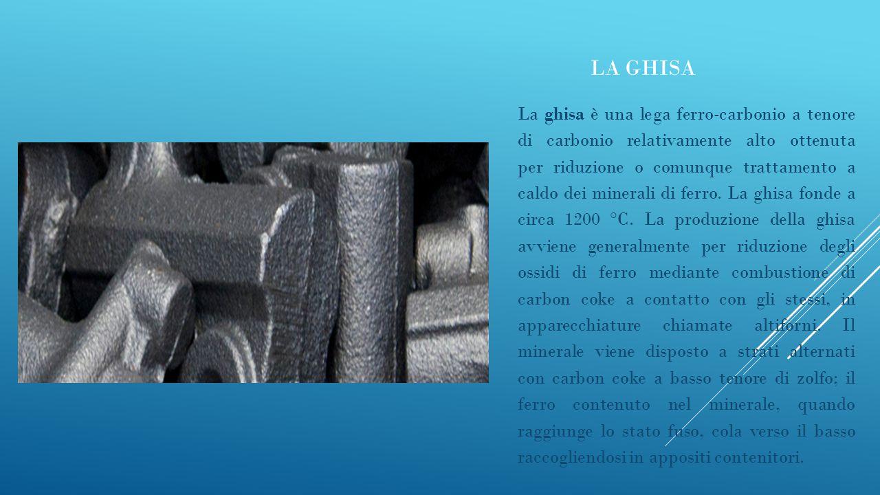 LA GHISA La ghisa è una lega ferro-carbonio a tenore di carbonio relativamente alto ottenuta per riduzione o comunque trattamento a caldo dei minerali